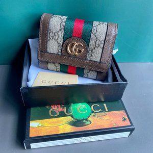 🏖️G-u-c-c-i🏖️ Canvas With Leather Triple Fold Wallet